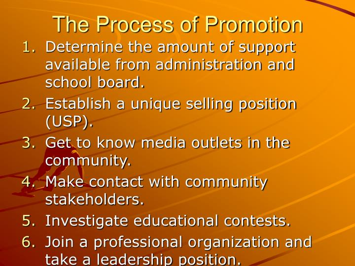 The Process of Promotion