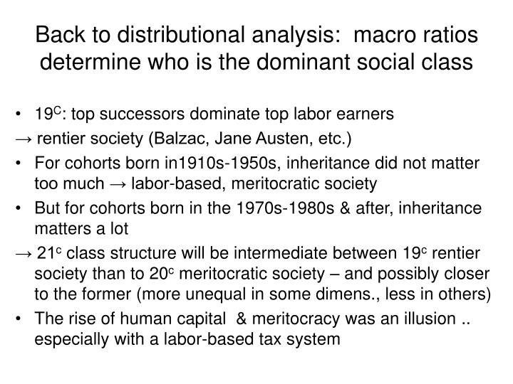 Back to distributional analysis:  macro ratios determine who is the dominant social class