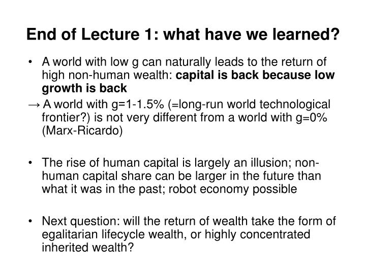 End of Lecture 1: what have we learned?