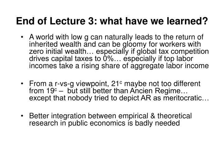 End of Lecture 3: what have we learned?
