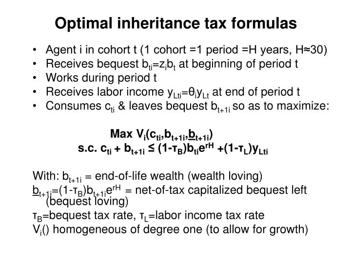 Optimal inheritance tax formulas