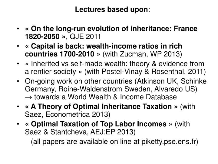 Lectures based upon
