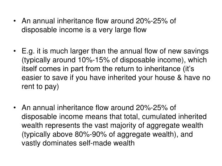 An annual inheritance flow around 20%-25% of disposable income is a very large flow