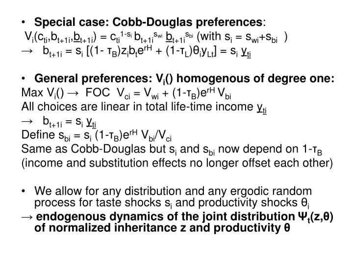 Special case: Cobb-Douglas preferences