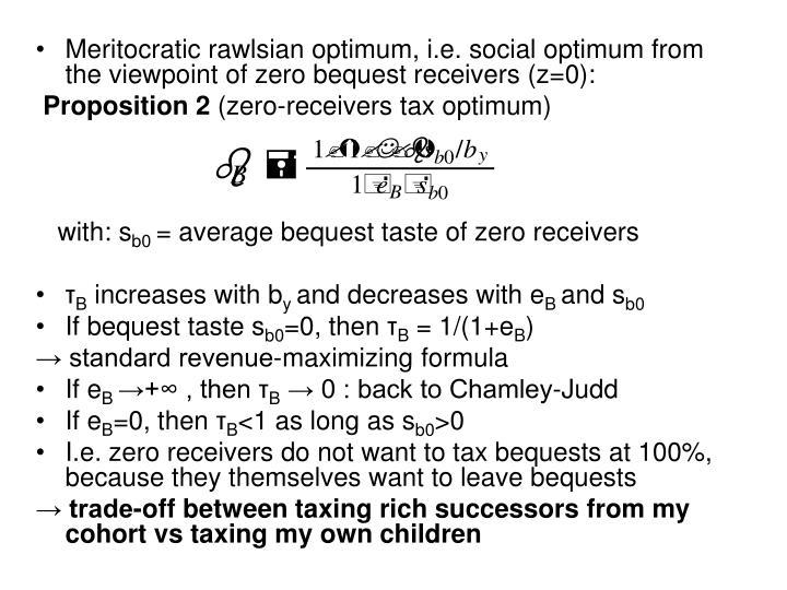 Meritocratic rawlsian optimum, i.e. social optimum from the viewpoint of zero bequest receivers (z=0):