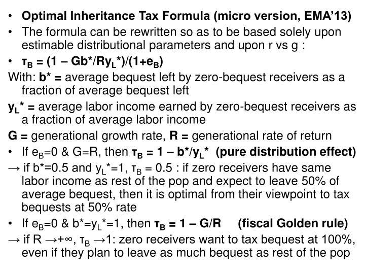 Optimal Inheritance Tax Formula (micro version, EMA'13)