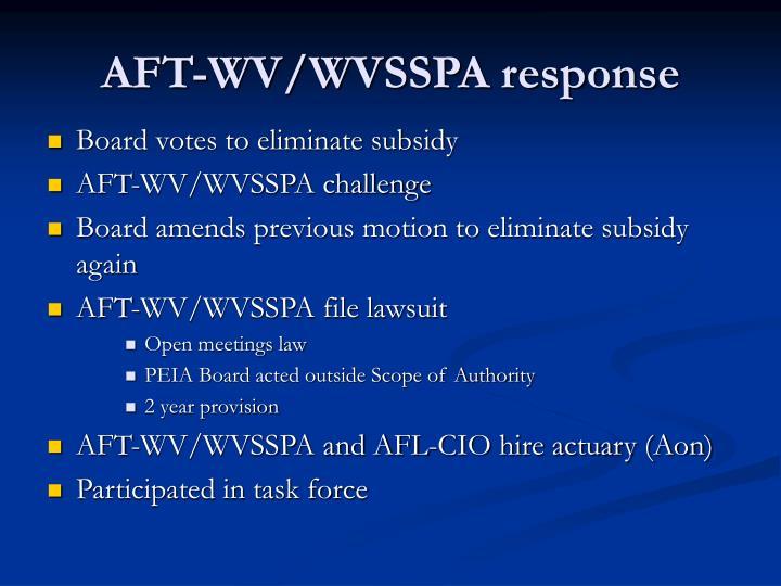 AFT-WV/WVSSPA response