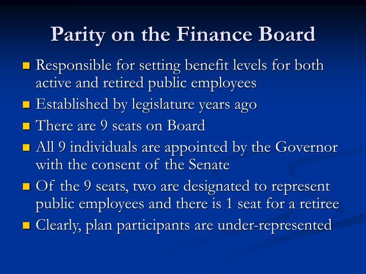 Parity on the Finance Board