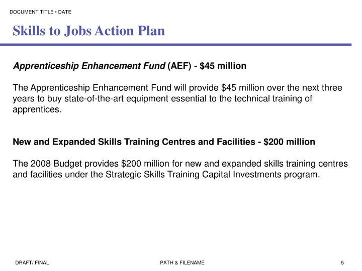 Skills to Jobs Action Plan