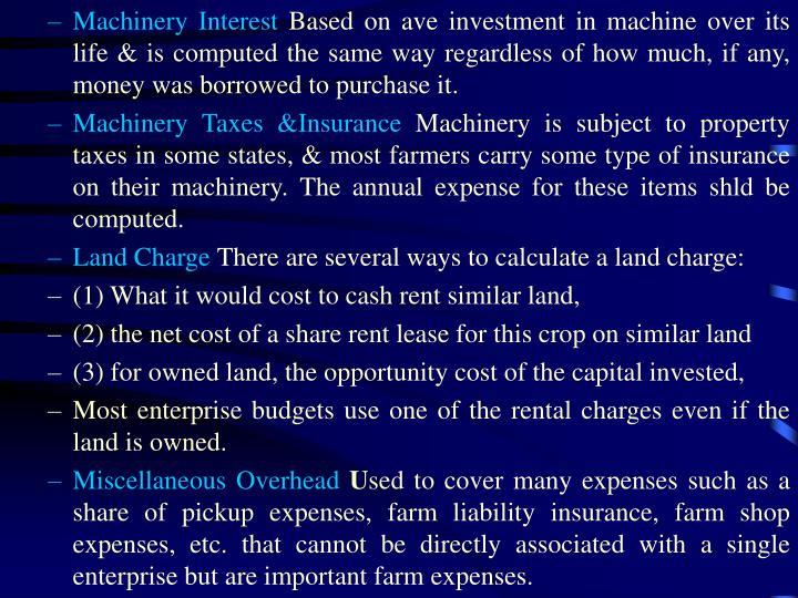 Machinery Interest