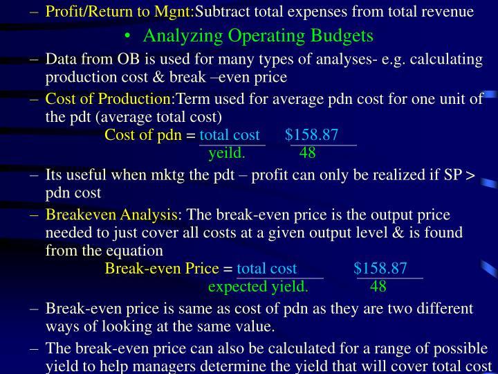 Profit/Return to Mgnt: