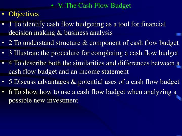 V. The Cash Flow Budget