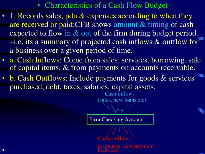 Characteristics of a Cash Flow Budget