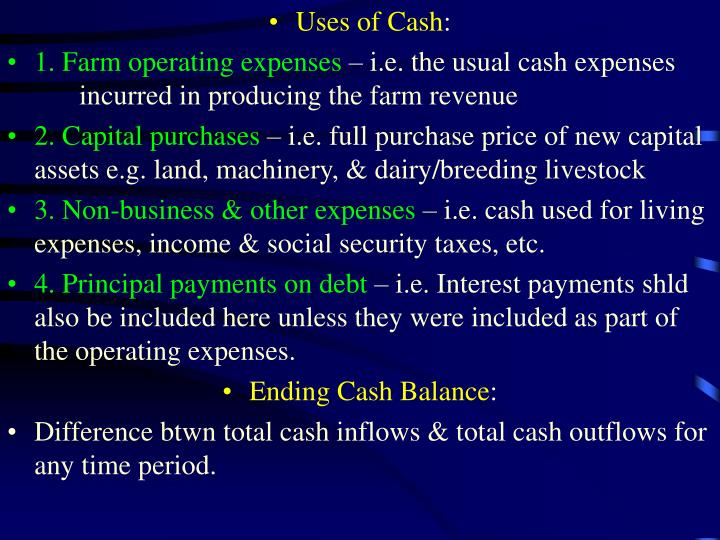 Uses of Cash