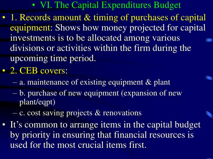VI. The Capital Expenditures Budget