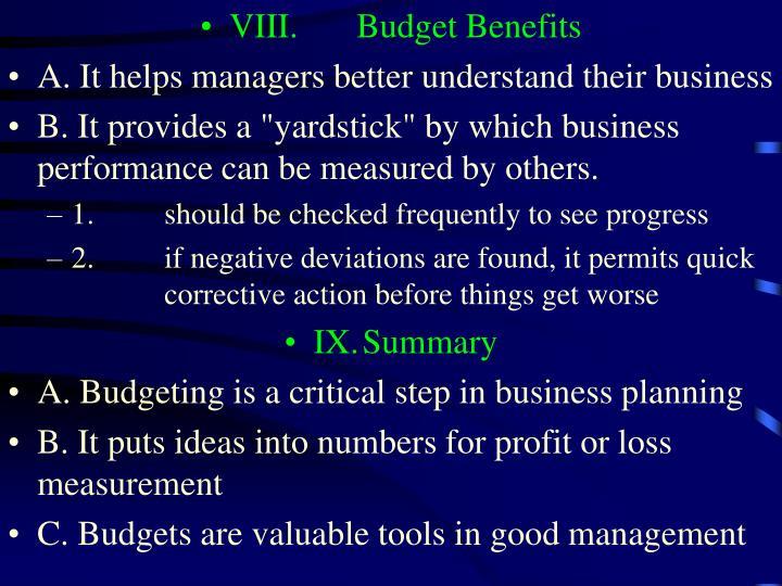VIII.Budget Benefits
