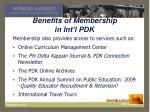 benefits of membership in int l pdk1