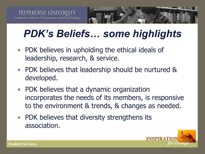 Pdk s beliefs some highlights