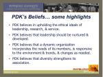 pdk s beliefs some highlights