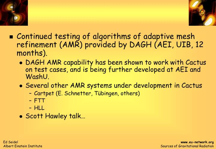 Continued testing of algorithms of adaptive mesh refinement (AMR) provided by DAGH (AEI, UIB, 12 mon...