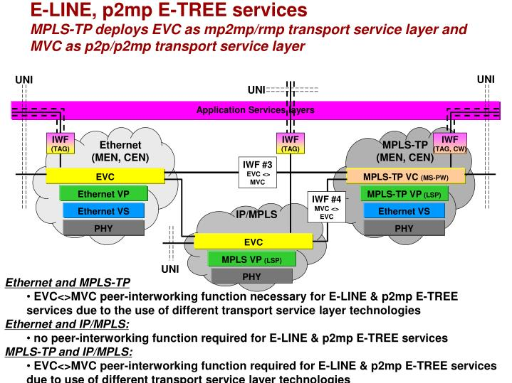 E-LINE, p2mp E-TREE services