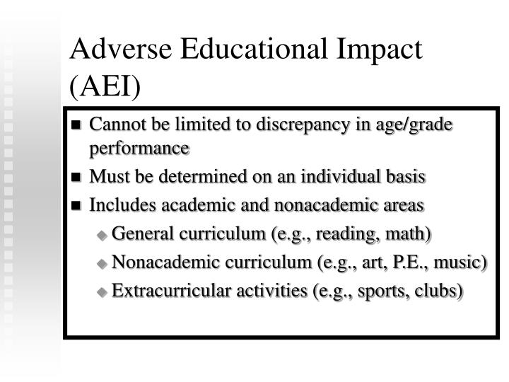 Adverse Educational Impact (AEI)