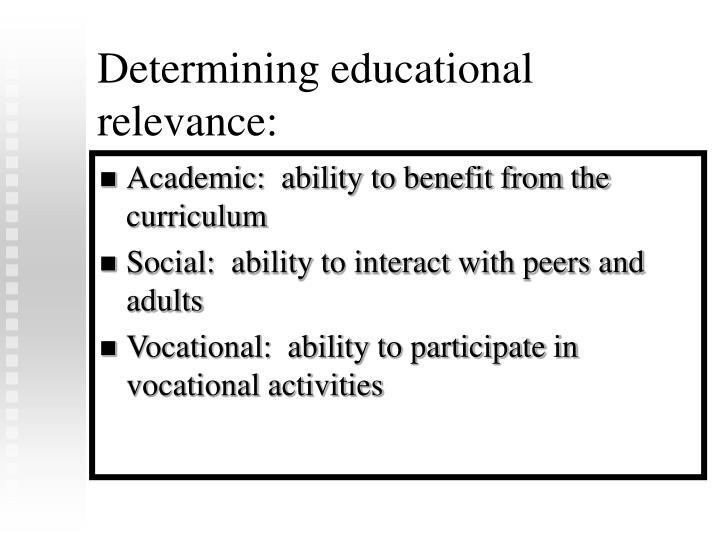 Determining educational relevance: