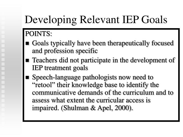 Developing Relevant IEP Goals