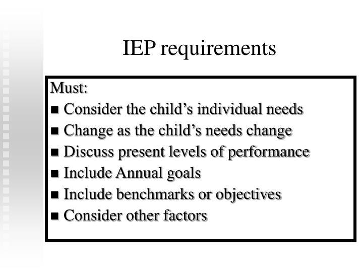 IEP requirements