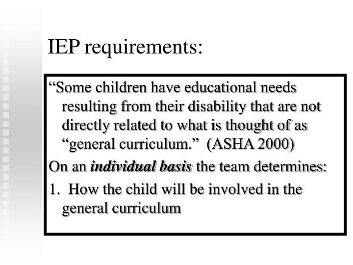 IEP requirements: