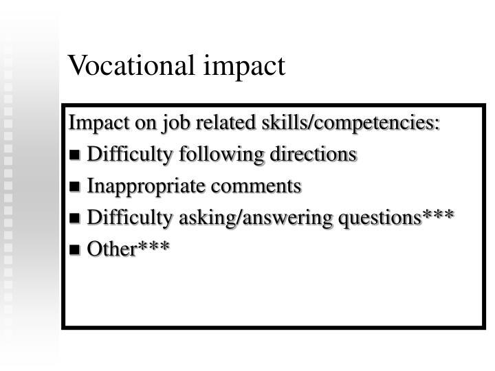 Vocational impact