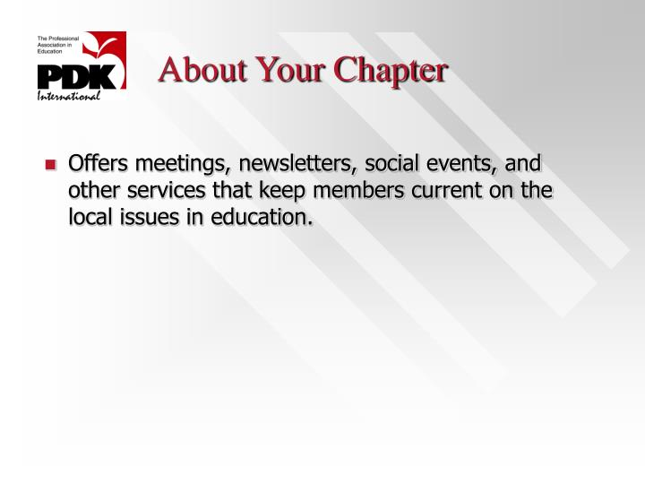 About Your Chapter