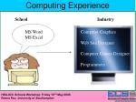computing experience