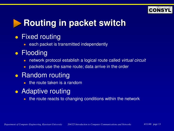 Routing in packet switch