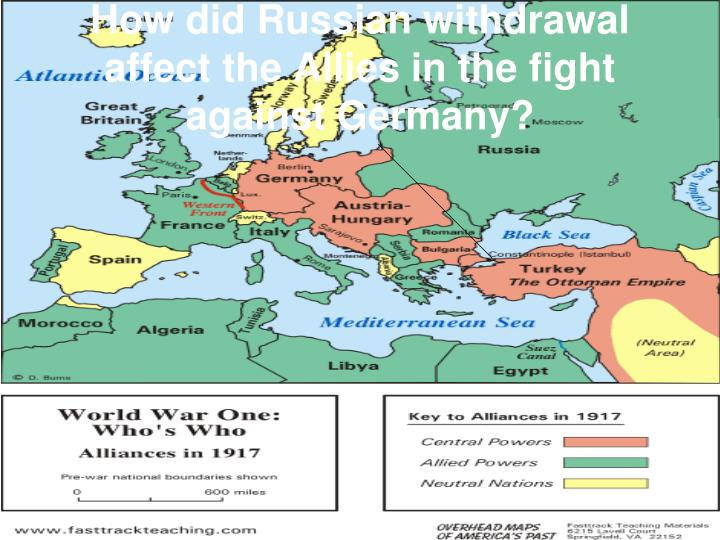 How did Russian withdrawal affect the Allies in the fight against Germany?