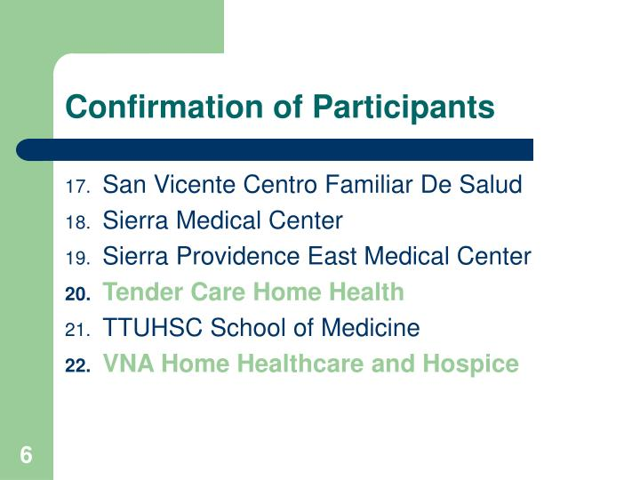 Confirmation of Participants