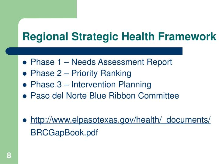 Regional Strategic Health Framework