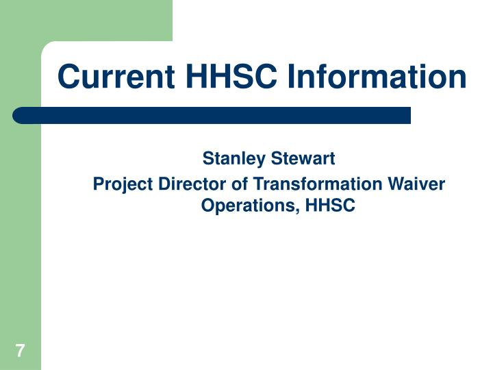 Current HHSC Information