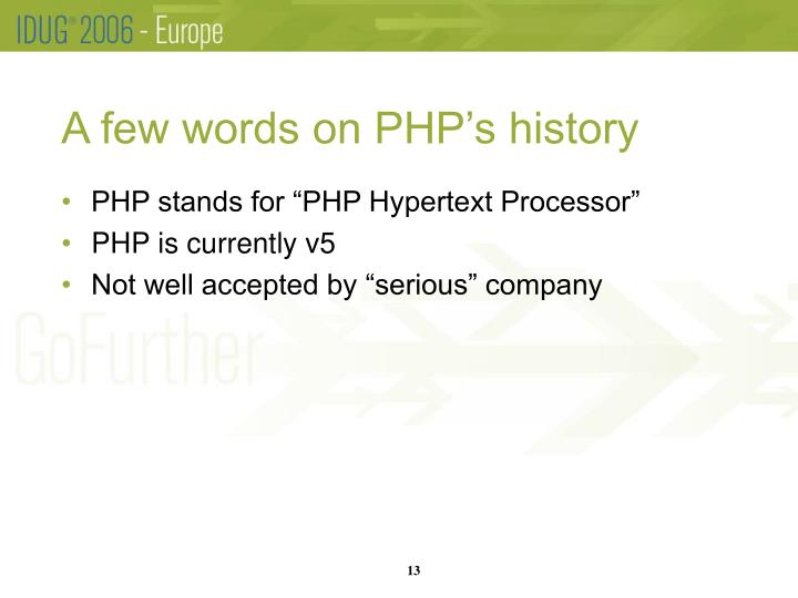 A few words on PHP's history