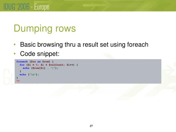Dumping rows