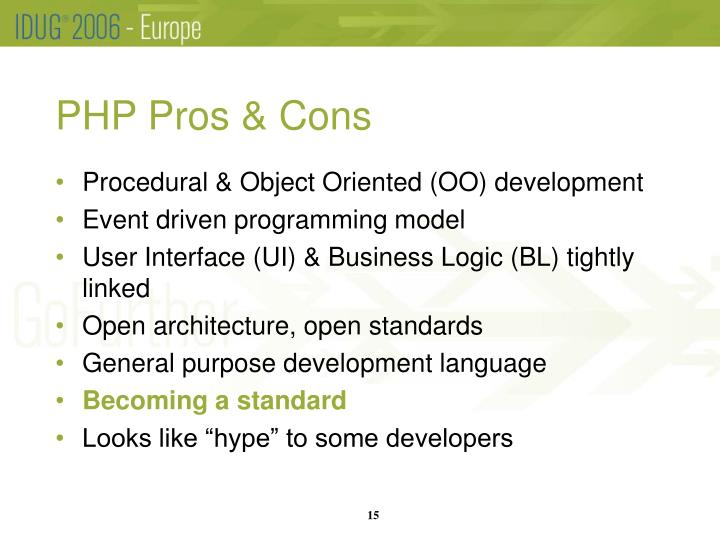 PHP Pros & Cons