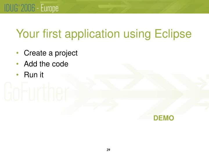Your first application using Eclipse
