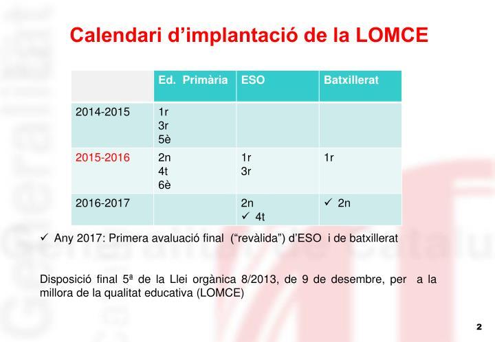 Calendari d'implantació de la LOMCE