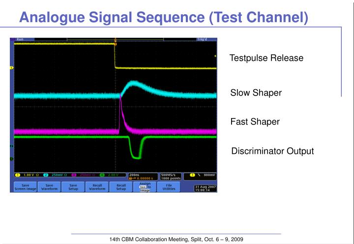 Analogue signal sequence test channel