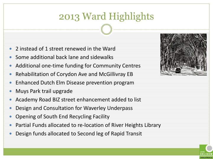 2013 Ward Highlights