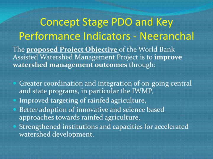 Concept Stage PDO and Key Performance Indicators - Neeranchal