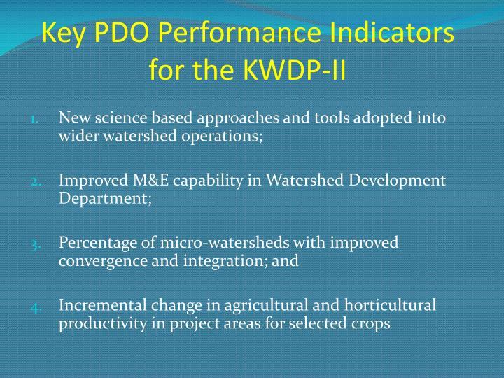Key PDO Performance Indicators for the KWDP-II
