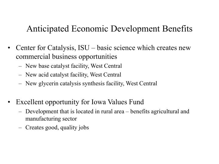 Anticipated Economic Development Benefits