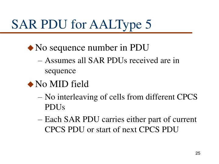 SAR PDU for AALType 5