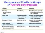 coenzymes and prosthetic groups of pyruvate dehydrogenase